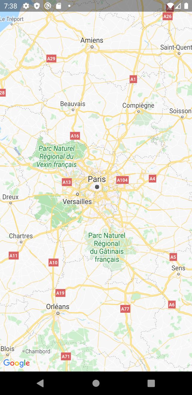 Aktualny stan aplikacji - wyświetlona mapa