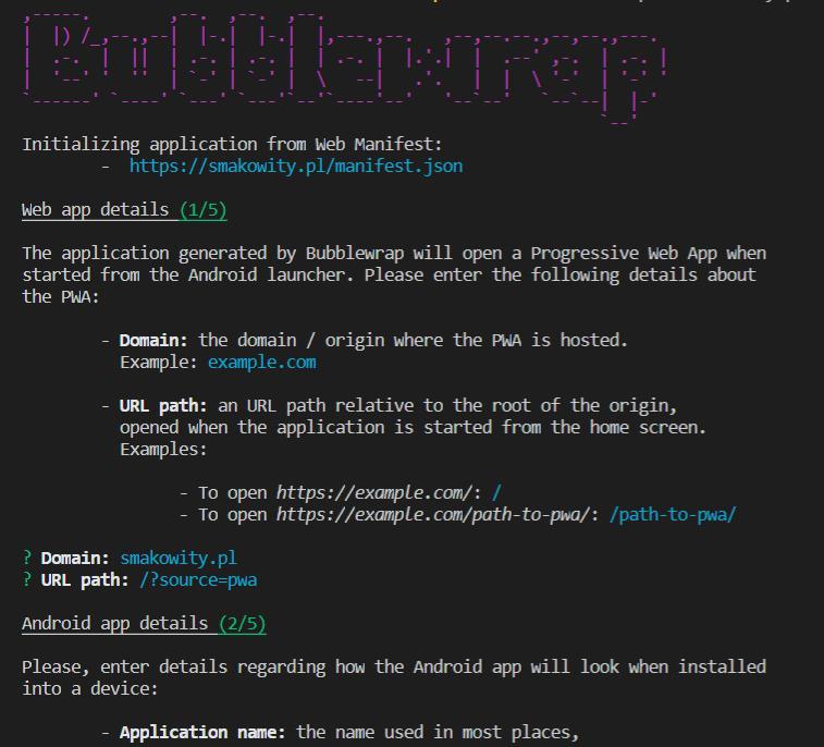 Generowanie aplikacji TWA z użyciem Bubblewrap